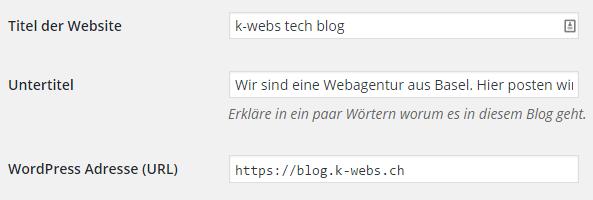 Einstellen der base URL in WordPress