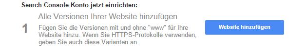 Google Webmastertools empfiehlt alle verfügbaren Protokolle mit und ohne www anzugeben.