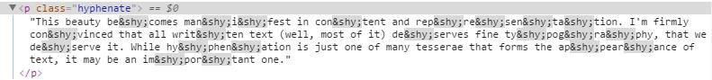 Soft hyphens durch Hyphenator eingesetzt