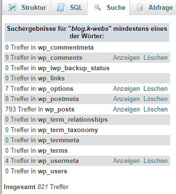 Wordpress SQL DB-Suche url