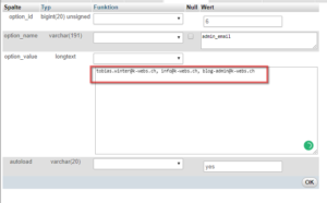 wp_options admin mail
